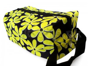 Flower Printed Cosmetics Storage Bag - Yellow
