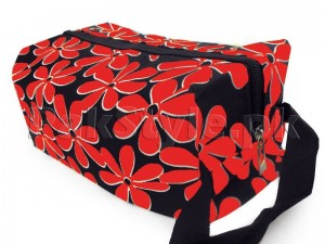 Flower Printed Cosmetics Storage Bag - Red Price in Pakistan