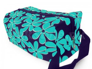 Flower Printed Cosmetics Storage Bag - Blue