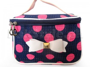 Polka Dots Travel Cosmetic Bag - Blue Price in Pakistan