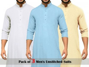 Pack of 3 Men's Unstitched Suits of Your Choice Price in Pakistan