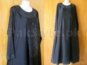 Black Nida Fabric New Design Abaya with Scarf Price in Pakistan