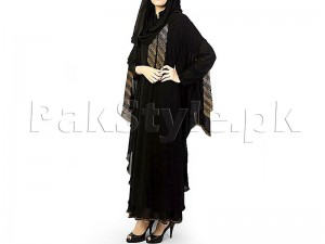 Stylish Double Sleeves Nida Fabric Abaya with Scarf Price in Pakistan