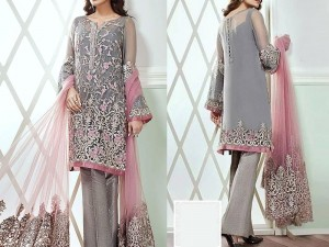 Elegant Embroidered Chiffon Dress with Net Dupatta Price in Pakistan