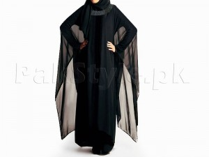 Butterfly Style Chiffon Fabric Abaya With Scarf Price in Pakistan