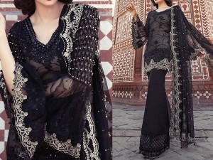 Designer Black Chiffon Dress EID Collection 2018 Price in Pakistan