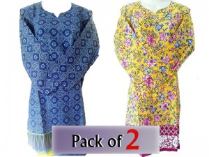 Pack of 2 Printed Lawn Kurtis for Women Price in Pakistan