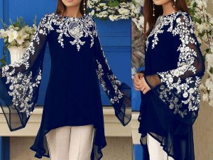 Unstitched Embroidered Chiffon Navy Blue Kurti with Inner Price in Pakistan