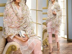 Embroidered Pink Chiffon Suit with Net Dupatta Price in Pakistan