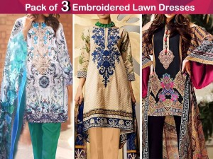 Pack of 3 Embroidered Lawn Dresses Price in Pakistan