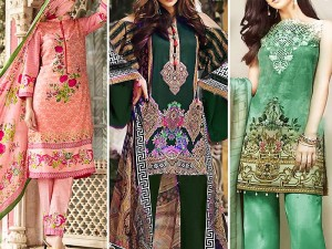 Pack of 3 Printed & Embroidered Lawn Suits Price in Pakistan