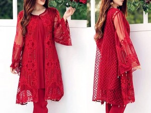 Unstitched Embroidered Chiffon Red Kurti with Inner Price in Pakistan
