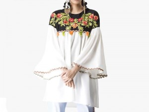 Embroidered White Cotton Kurti Price in Pakistan