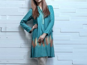 Printed Cotton Kurti For Girls - Sea Green Price in Pakistan