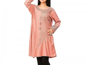 Stylish Peach Color Cotton Kurti Price in Pakistan