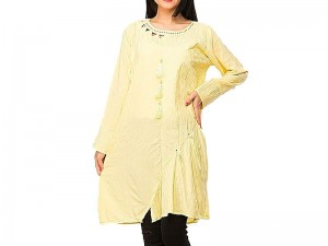 Stylish Yellow Color Cotton Kurti Price in Pakistan