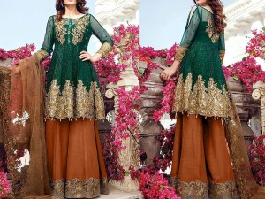Embroidered Green Chiffon Suit with Net Dupatta Price in Pakistan
