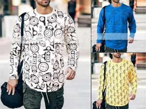 Pack of 3 Full Sleeves Printed T-Shirts Price in Pakistan