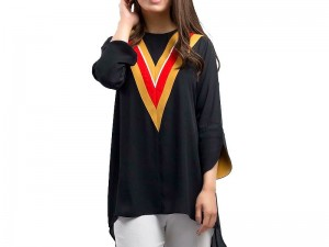 Boski Linen Black Kurti For Girls