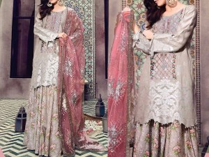 Embroidered Lawn Suit with Printed Net Dupatta Price in Pakistan
