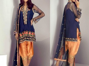 Embroidered Chiffon Suit with Jamawar Trouser Price in Pakistan