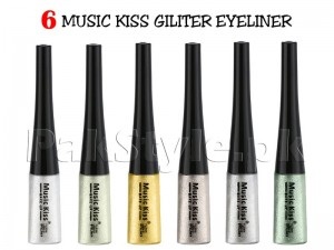 Pack of 6 Music Kiss Glitter Eye Liner Price in Pakistan