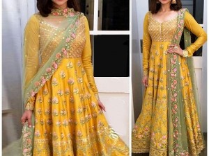 Embroidered Yellow Chiffon Maxi Dress Price in Pakistan