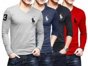Pack of 4 V-Neck Full Sleeves T-Shirts Price in Pakistan