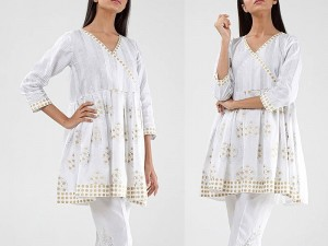 Printed White Cotton Kurti For Girls Price in Pakistan
