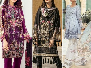 Pack of 3 Embroidered Lawn Suits with Net Dupatta Price in Pakistan