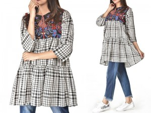 Embroidered Cotton Checkered Frock Price in Pakistan