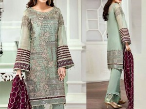 Embroidered Chiffon Suit with Silk Trouser