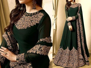 Indian Embroidered Green Chiffon Maxi Dress Price in Pakistan
