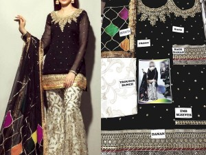 Embroidered Black Chiffon Dress with Silk Trouser Price in Pakistan