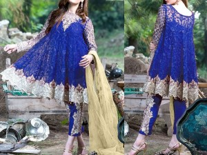 Embroidered Blue Chiffon Dress with Net Dupatta Price in Pakistan