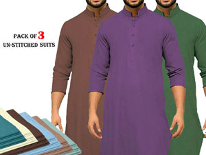 Pack of 3 Unstitched Men's Suits of Your Choice Price in Pakistan