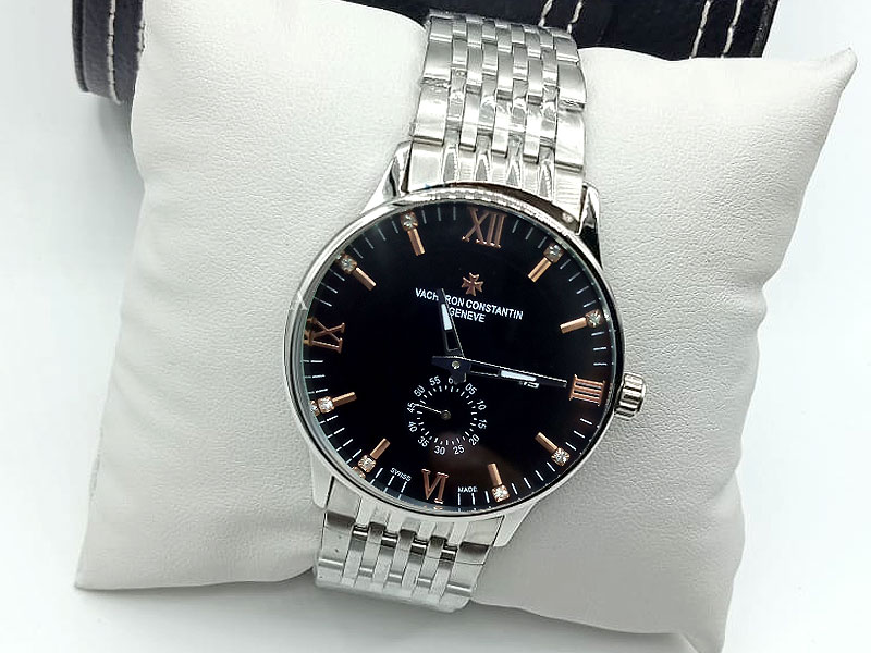 Men's Silver Chain Down Second Watch - Black Price in Pakistan