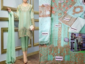 Embroidered Sea Green Chiffon Dress Price in Pakistan