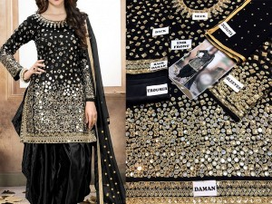 Mirror Work Embroidered Black Chiffon Party Dress Price in Pakistan