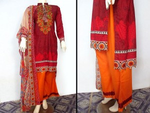 3 Piece Ready Made Embroidered Lawn Suit by Hina Collection Price in Pakistan