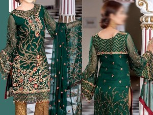 Embroidered Green Chiffon Suit with Jamawar Trouser Price in Pakistan