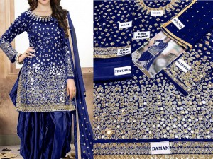 Mirror Work Navy Blue Embroidered Chiffon Party Dress Price in Pakistan