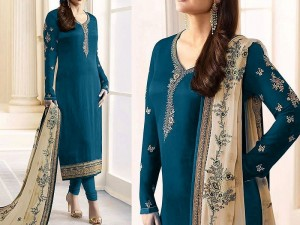 Indian Embroidered Blue Chiffon Dress Price in Pakistan