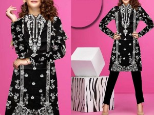 Embroidered Black Lawn Suit with Net Dupatta Price in Pakistan