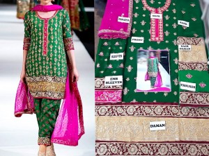 Heavy Embroidered Green Chiffon Dress Price in Pakistan