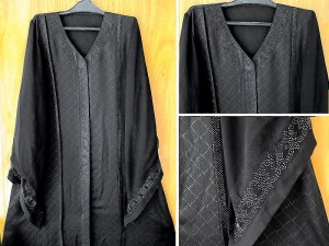 Black Nida Fabric Fancy Abaya with Scarf Price in Pakistan