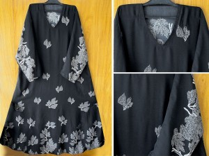 Printed Black Nida Fabric Abaya with Scarf Price in Pakistan