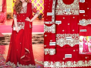 Embroidered Chiffon Red Bridal Dress Price in Pakistan