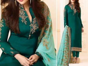 Indian Embroidered Green Chiffon Dress Price in Pakistan
