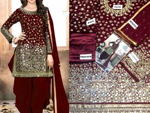 Mirror Work Embroidered Maroon Chiffon Party Dress Price in Pakistan